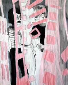 'Brett & Niamh share a dream' Acrylic on paper.