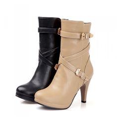 Plus size EU34-48 Women Denim Block Heels Calf Boots Wing Tip Knight Casual Shoe