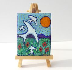 Swallow Painting, Hand Painted Canvas, Original Art £22.00