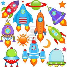 Vector - spaceship Spacecraft Rocket UFO - stock illustration royalty free illustrations stock clip art icon stock clipart icons logo line art EPS picture pictures graphic graphics drawing drawings vector image artwork EPS vector art Space Party, Space Theme, Drawing For Kids, Art For Kids, Astronaut Party, Festa Toy Story, Spacecraft, Stars And Moon, Art Lessons