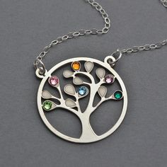 Family Tree Necklace, Sterling Silver Tree of Life with Swarovski Birthstone, Tree of Life Pendant Charm, Great Grandma Necklace