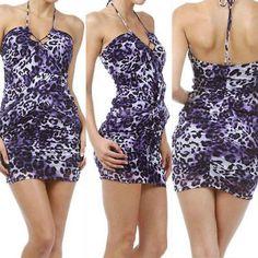 S M L Dress Halter Leopard Animal Mini Purple Mesh Criss Cross Club New Party