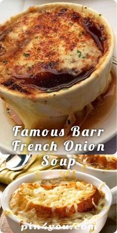 Famous Barr French Onion Soup Source by jasonvgorp Vegan French Onion Soup, Crockpot French Onion Soup, Classic French Onion Soup, Onion Soup Recipes, Easy Soup Recipes, Chili Recipes, Famous Barr French Onion Soup Recipe, Homemade French Onion Soup, Slow Cooker Soup