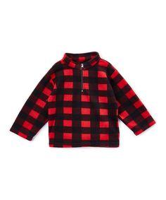 Red & Black Fleece Pullover - Infant