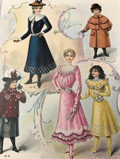 1900 Young Misses Children's Fashions / Color Fashion Plate / Victorian Era / February 1900 /Antique / Fashion Magazine Page Victorian Era Fashion, 1900s Fashion, French Fashion, Vintage Fashion, Vintage Style, Belle Epoque, Fashion Colours, Colorful Fashion, Childrens Coats