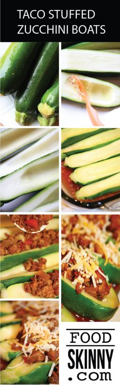 Skip the carbs and enjoy your healthy tacos in hollowed out zucchini boats! FoodSkinny.com