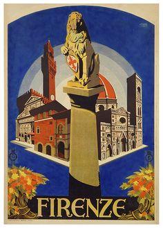 Firenze (palazzo Vecchio, Santa Maria Novella, palazzo dell'Arte della Lana, Santa Maria del Fiore, campanile di Giotto e colonna col Marzocco e due fasci di fiori)