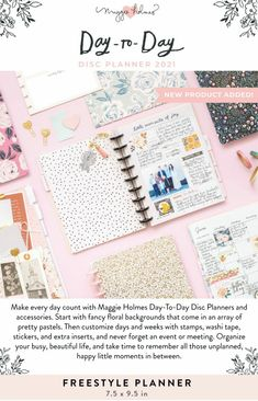 Crate paper | Maggie Holmes | day-to-day | disc planner collection 2021 Crate Paper, Day Planners, Pretty Pastel, Washi Tape, New Product, Crates, Joy, Stamp, Fancy