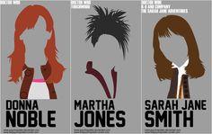Doctor Who Minimalist headshots - Donna Noble, Martha Jones, Sarah Jane Smith