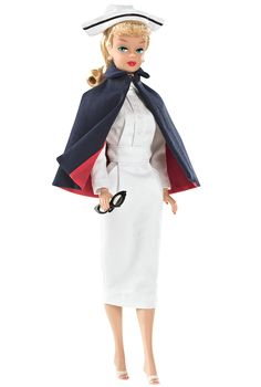 Funny because when I was in nursing school I had to wear an obnoxious white dress with white stockings.   Wishing now that I could have worn the cape and cap too.  :) Definitely think the heels are a little much Barbie!