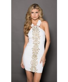 Roxanni Jamie Bandage Dress in White with Gold By Holt Find More : http://www.imaddictedtoyou.com/