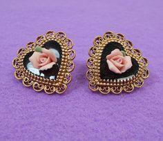 Black & Gold Filigree Heart Porcelain Rose Earrings