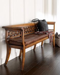 """""""Leighton"""" Wood & Leather Settee - traditional - benches - by Horchow Living Room Bench, Living Furniture, Home Decor Furniture, Sofa Furniture, Furniture Design, Country Furniture, Traditional Benches, Traditional Furniture, Wooden Sofa Designs"""