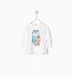 Glitter owl T-shirt-T-shirts-Baby girl   3 months - 3 years-KIDS   ZARA United States