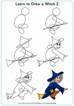 Learn to draw a witch tutorial