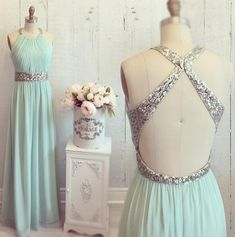 Mint Long Prom Dress