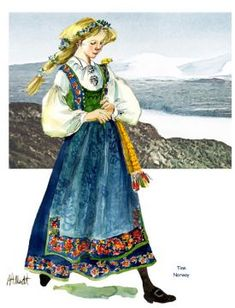Folk Costume, Costumes, Norwegian Clothing, Bridal Crown, Snow Queen, Folklore, Illustrators, Scandinavian, Princess Zelda