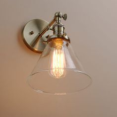 Industial Vintage Wall Light Sconce Lamp Glass Shade Edison Filament Lighting