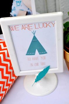 "Tribal + Camping themed birthday party via Kara's Party Ideas KarasPartyIdeas.com /// ""We are blessed to have you in our tribe"""