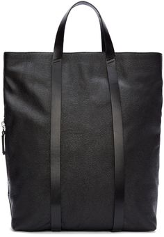 Costume National Black Leather Tote Backpack