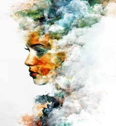 Emi Haze is an italian freelance digital artist and illustrator. His digital works are a mixture of graphic elements and hand-drawn ink marks, acrylic or watercolor stains. Double Exposure Photography, Multiple Exposure, Photo Retouching, Creative Photography, Art Photography, Figurative Art, Creative Inspiration, Art Inspo, Photoshop