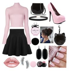 """""""Pink and black💗⚫️💗⚫️"""" by sb158543 on Polyvore featuring WithChic, A.L.C., Rebecca Minkoff, Lime Crime, Kate Spade, Nails Inc., Humble Chic, Kendra Scott, Kre-at Beauty and Deborah Lippmann"""