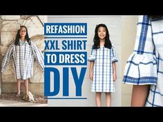 DIY | XXL MEN'S SHIRT TO GIRL'S DRESS W/ BELL SLEEVES REFASHION - YouTube