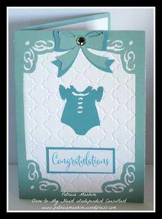 Patricia Manhire: CTMH #ArtfullySent Baby Blue Card #QuatrefoilEmbossingFolder