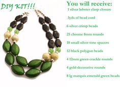 DIY Do it yourself double strand statement neclace kit, beads, necklace, green, chunky