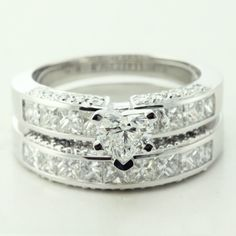 Heart Shaped Diamond Engagement Wedding Rings Set In Channel & Pave Set