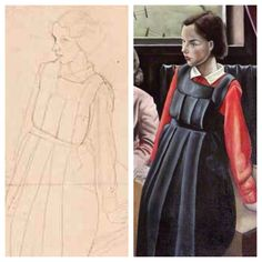 """James Cowie, sketch and detail of finished painting """"Intermission"""" Drawing For Kids, Sketch, Portraits, Detail, Children, Painting, Animals, Collection, Dresses"""