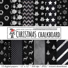 "New to SandraGraphicDesign on Etsy: Christmas digital paper: ""CHALKBOARD CHRISTMAS"" with chalkboard digital paper Christmas patterns chalkboard texture (1074) (4.00 USD)"