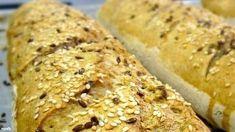 Villámgyors bagett házilag   Nosalty Bread Rolls, Bagel, Bread Recipes, Banana Bread, Baking, Breakfast, Desserts, Food, Baguette