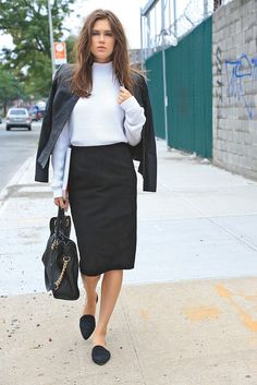 Zac Zac Posen's leather jacket and cotton sweater with Anne Klein's suede skirt. Aldo shoes. [Photo by Thomas Iannaccone]