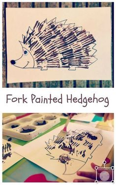 Fork painted hedgehog fun fall autumn crafts for toddlers and preschoolers . - Fork painted hedgehog fun autumn fall crafts for toddlers and preschoolers - Autumn Eyfs Activities, Harvest Activities, Nursery Activities, Animal Activities, Toddler Activities, Playgroup Activities, Animal Crafts, Harvest Crafts For Kids, Kids Crafts