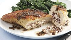 Goat-Cheese-and-Olive-Stuffed Chicken Breasts with Balsamic-Butter Pan Sauce - Recipe - FineCooking Pan Sauce Recipe, Ragu Recipe, Goat Cheese Stuffed Chicken, Chicken Liver Pate, Steamed Asparagus, Chicken With Olives, Juicy Steak, Star Food, Roasted Salmon