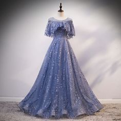 Blue Sequins Tulle Hole Back Long Cap Sleeve Prom Dress, Formal Dress Prom Dresses With Sleeves, Prom Dresses Blue, Cute Dresses, Cheap Formal Dresses, Cheap Evening Dresses, Dress Formal, Formal Prom, Fantasy Gowns, Mode Outfits