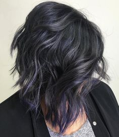 Messy Bob With Purple Streaks
