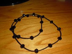 "30""  black seed bead and crystal rondelle necklace"