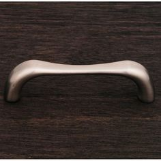 This satin nickel finish standard size cabinet pull with contemporary bent middle design from RK International is perfect for use on cabinet doors and drawers capable of accepting a mounted pull.
