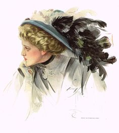 """Harrison Fisher's - """"LOVELY WOMAN WITH FEATHERED HAT"""" - Lithograph - 1908"""