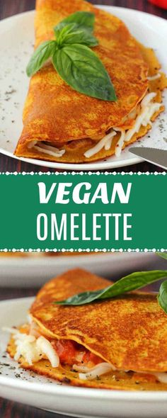 Light and fluffy vegan omelette served with sautéed mushrooms, tomatoes, onion,. Vegan Cheese Recipes, Vegan Foods, Vegan Dishes, Vegetarian Recipes, Vegetarian Breakfast, Vegan Breakfast Recipes, Brunch Recipes, Vegan Omelette, Whole Food Recipes