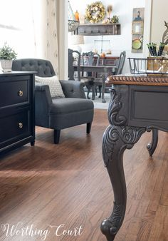 spray paint chairs with Rustoleum Anodized Bronze- no glaze used, Office desk legs painted gray || Worhting Court