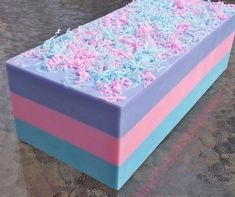 Cotton Candy Soap Loaf from Handmade Wholesale Soaps - Home Made Soap Homemade Soap Bars, Homemade Soap Recipes, Homemade Cards, Diy Savon, Wholesale Soap, Soap Making Recipes, Glycerin Soap, Castile Soap, Bath Soap