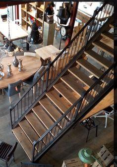 Combi staal met houten trap, love it!