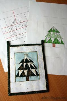 """всякие всякости...: Новогодняя гирлянда в технике """"paper piecing"""". Флажок седьмой"""