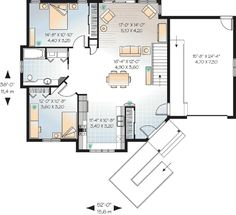First Floor Plan of Bungalow   Contemporary   House Plan 64918