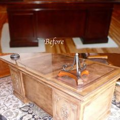 before and after cherry desk makeover