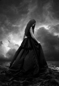 Above and Sea by ~VampireDarlla on deviantART / dark fantasy art Dark Gothic Art, Gothic Fantasy Art, Gothic Pictures, Dark Pictures, Fantasy Photography, Beach Photography, Photography Magazine, Dark Beauty, Gothic Beauty