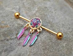 Industrial Barbell Dream Catcher Body Jewelry Ear Jewelry Double Piercing Feathers - Gold Industrial Barbell Dream Catcher Fire Opal Center Body Jewelry Ear… -Gold Industrial Barbell Dream Catcher Body Jewelry Ear Jewelry Double Piercing Feathers - Go. Bar Ear Piercing, Ear Peircings, Cute Ear Piercings, Ear Piercings Cartilage, Body Piercings, Piercing Tattoo, Double Cartilage, Tongue Piercings, Piercing Studio